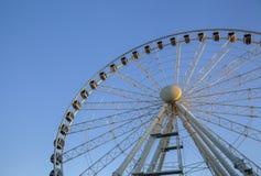Budapest wheel sunset. Sky blue Royalty Free Stock Image