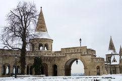 Budapest in winter. Fisherman's Bastion, castle Hill Royalty Free Stock Image