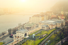Budapest Winter Mist - Cityscape View Stock Photo