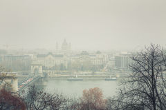 Budapest Winter Mist - Cityscape View Stock Photography