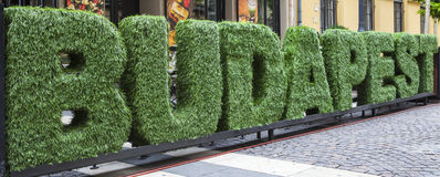 Budapest. The word BUDAPEST spelt out with astroturf Stock Image