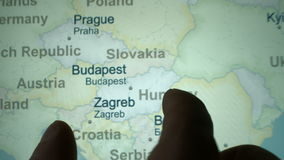 Budapest on the world map stock footage
