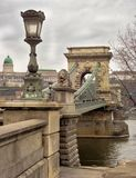 Budapests Chain Bridge under polluted gray sky Stock Photography