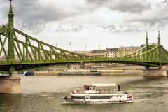 Budapests Liberty Bridge stormy sky Royalty Free Stock Image