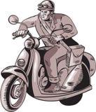 BudbärareRiding Vintage Scooter etsning Royaltyfri Bild