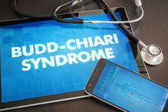 Budd-Chiari syndrome (liver disease) diagnosis medical concept. On tablet screen with stethoscope royalty free stock photography