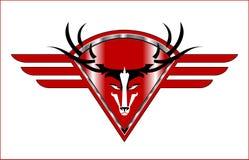 budd stag Lösa Buck Icon på den sh röda metalliska bevingade diamanten royaltyfri illustrationer