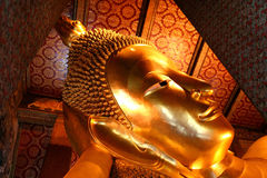 Budda. Head of the Reclining Budda Bangkok Thailand stock photo