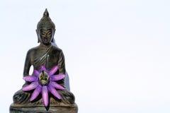 Budda Buddha mit Blume lizenzfreie stockbilder