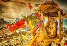 Budda statue on mountain Gokyo Ri. Himalayas, Nepal Royalty Free Stock Image