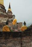 Budda-Statuen bei Wat Yai Chai Mongkon, ein buddhistischer Tempel in Ayutthaya, Thailand Stockbild