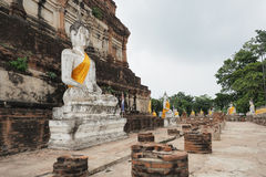 Budda statues at Wat Yai Chai Mongkon. Buddha statues at Wat Yai Chai Mongkon, a Buddhist temple in Ayutthaya, Thailand Royalty Free Stock Photography