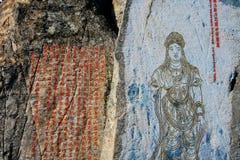 Каменная статуя Budda в виске Wuxi Lingshan Будды стоковые изображения
