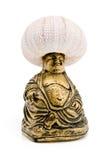Buddah con il discolo di mare oh la sua testa fotografie stock