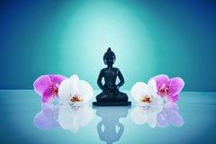 Buddah med rosa och vita orchis Arkivbilder