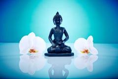 Buddah med vita orchis Royaltyfri Foto