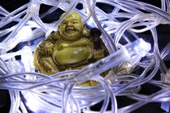 Buddah in a Nest of Fairy Lights Stock Photo