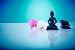 Buddah with pink and white orchis. Wellness and Spa Image, works perfect for advertising Health and Beauty, Spirituality or Massage Royalty Free Stock Photo