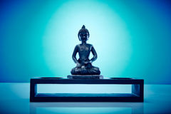 Buddah on a plattform. Wellness and Spa Image, works perfect for advertising Health and Beauty, Spirituality or Massage Royalty Free Stock Photo