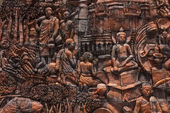 Buddaha historia på väggen Royaltyfri Bild