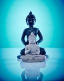 Buddahs en pierre noirs et gris Images stock