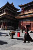 Buddaism Cultur in China. A Buddhist Tibetan monk in the Yonghe  Lama Temple in Beijing, China Stock Photo