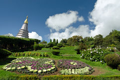 Buddha's relic on Inthanon mountain with garden view in the front and cloudy sky Stock Images