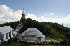 Buddha's relic on Inthanon mountain with garden view in the front and cloudy sky Stock Photos