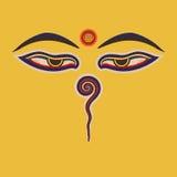 Buddhaögon av Nepal Fotografering för Bildbyråer