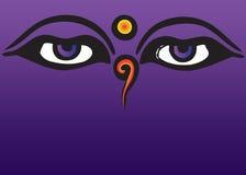 buddha ögon stock illustrationer