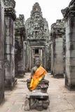 Buddha świątynia w Bayon świątyni Siem Przeprowadza żniwa Kambodża fotografia stock