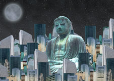 Buddha. A buddha is prying in the middle of a modern city Royalty Free Stock Photography
