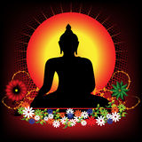 Buddha. Abstract colorful illustration with Buddha silhouette surrounded by colored flowers Stock Image