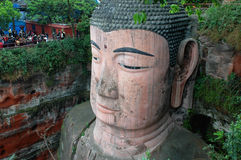 Buddha. Giant Stone sculpture of Buddha in Leshan,Sichuan,China.The Buddha faces Emei Mountains across the river and at its back is the western face of Lingyun Royalty Free Stock Images