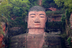 Buddha. Giant Stone sculpture of Buddha in Leshan,Sichuan,China.The Buddha faces Emei Mountain across the river and at its back is the western slope of Lingyun Royalty Free Stock Photography
