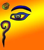 Buddha. Above the Buddha eye is the third eye (Tri-netra), symbolizing the all-seeing wisdom of the Buddha stock illustration