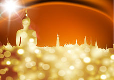 Buddha. Gold buddha silhouette against red background Royalty Free Stock Photo