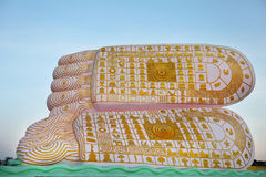 Buddha-Abdruck mit den Symbolen geprägt auf Sohlen Stockfoto