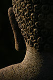 Buddha Abstract, Borobudur. The back of a Buddha's head featuring an ear and hair details. This is an  an abstract of an authentic, ancient stone statue found in Stock Image