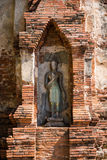 Buddha in an Ancient Pagoda at ayutthaya, thailand Stock Photos