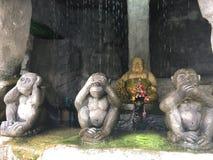 Buddha And Monkeys Statue Stock Photography