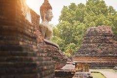 Buddha antico il vecchio muro di mattoni Fotografie Stock