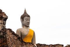 Buddha antico in Wat Yai Chaimongkol, Ayutthaya, Thailan Il tempio è pubblico in Tailandia Fotografia Stock Libera da Diritti