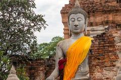 Buddha antico in Wat Yai Chaimongkol, Ayutthaya, Thailan Il tempio è pubblico in Tailandia Immagini Stock Libere da Diritti