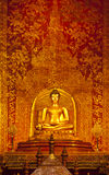 Buddha and art wall temple Stock Photo
