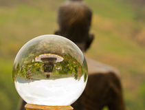 The Buddha asceticism in crystal ball Royalty Free Stock Photography