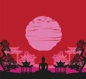Buddha and Asian landscape. Vector Illustration stock illustration