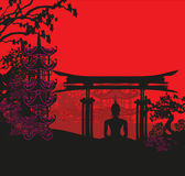 Buddha and Asian landscape Royalty Free Stock Images