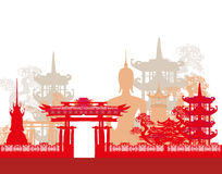 Buddha and Asian landscape. Vector Illustration Royalty Free Stock Photos