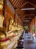 Buddha auf Musterdetail des Teakholzgoldes Lizenzfreie Stockbilder